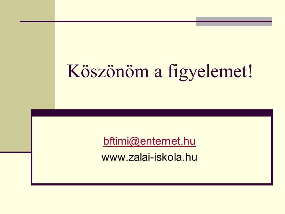 Köszönöm a figyelemet! bftimi@enternet.hu www.zalai-iskola.hu