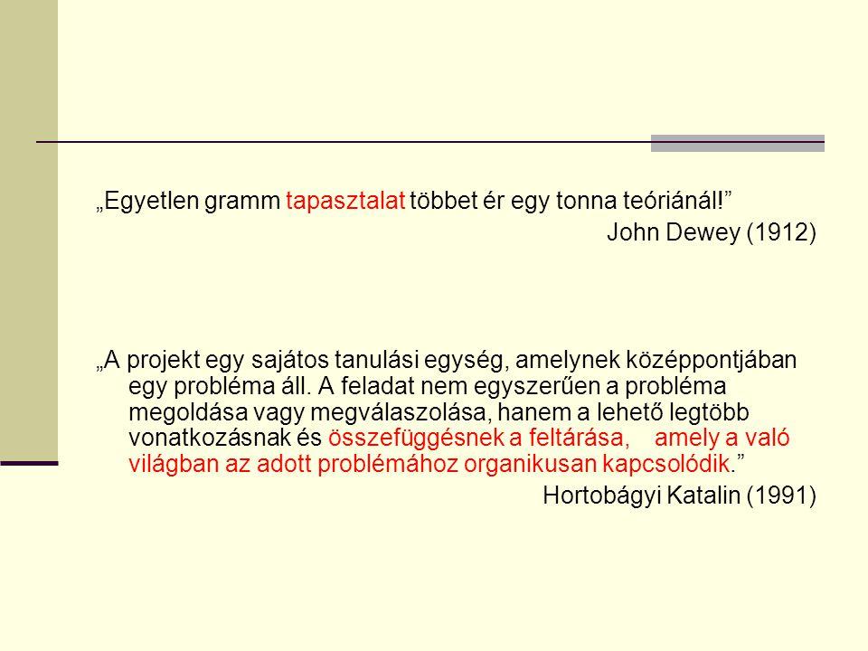"""""""Egyetlen gramm tapasztalat többet ér egy tonna teóriánál!"""" John Dewey (1912) """"A projekt egy sajátos tanulási egység, amelynek középpontjában egy prob"""