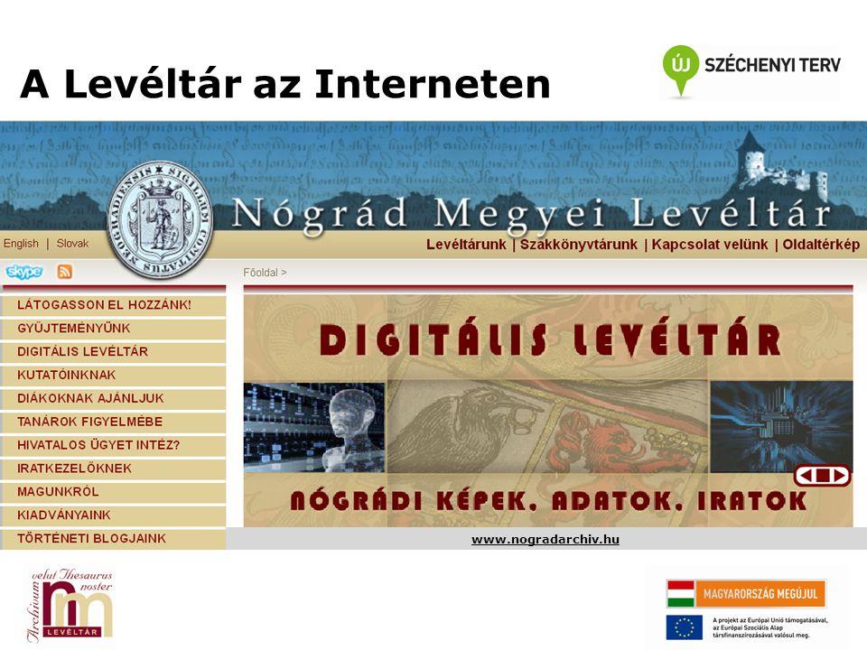 További tartalmak A Nógrád Megyei Levéltár az intézményi honlapon túl öt különálló történeti blogot, továbbá egy, a szlovák-magyar közös múltat bemutató önálló honlapot működtet.