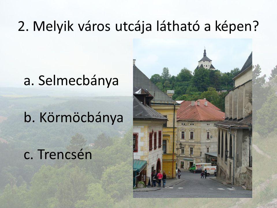 3. Melyik város főterén látható az épület? a. Pozsony b. Zólyom c. Nyitra