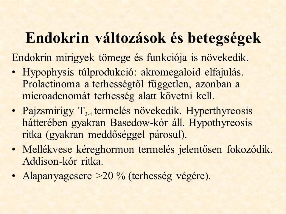 Endokrin változások és betegségek Endokrin mirigyek tömege és funkciója is növekedik. •Hypophysis túlprodukció: akromegaloid elfajulás. Prolactinoma a