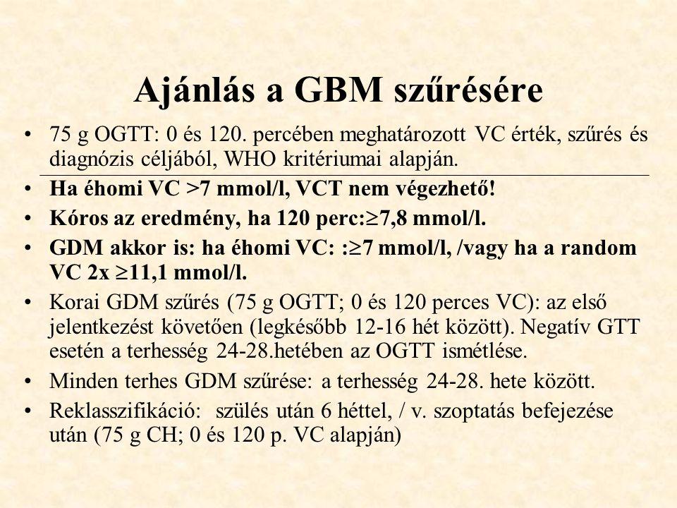 Ajánlás a GBM szűrésére •75 g OGTT: 0 és 120. percében meghatározott VC érték, szűrés és diagnózis céljából, WHO kritériumai alapján. •Ha éhomi VC >7