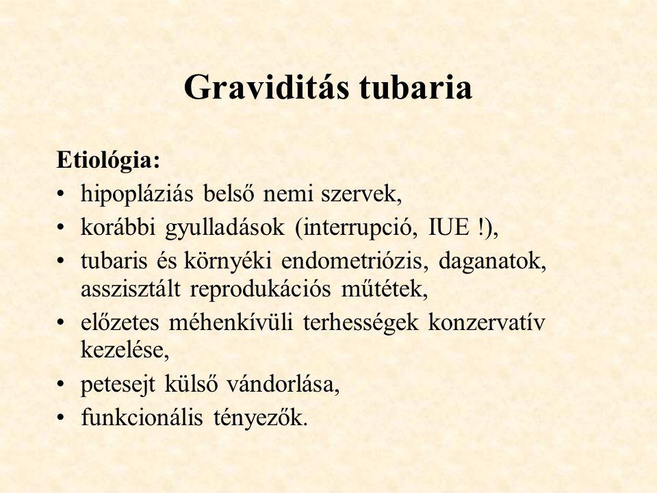 Graviditás tubaria Etiológia: •hipopláziás belső nemi szervek, •korábbi gyulladások (interrupció, IUE !), •tubaris és környéki endometriózis, daganatok, asszisztált reprodukációs műtétek, •előzetes méhenkívüli terhességek konzervatív kezelése, •petesejt külső vándorlása, •funkcionális tényezők.