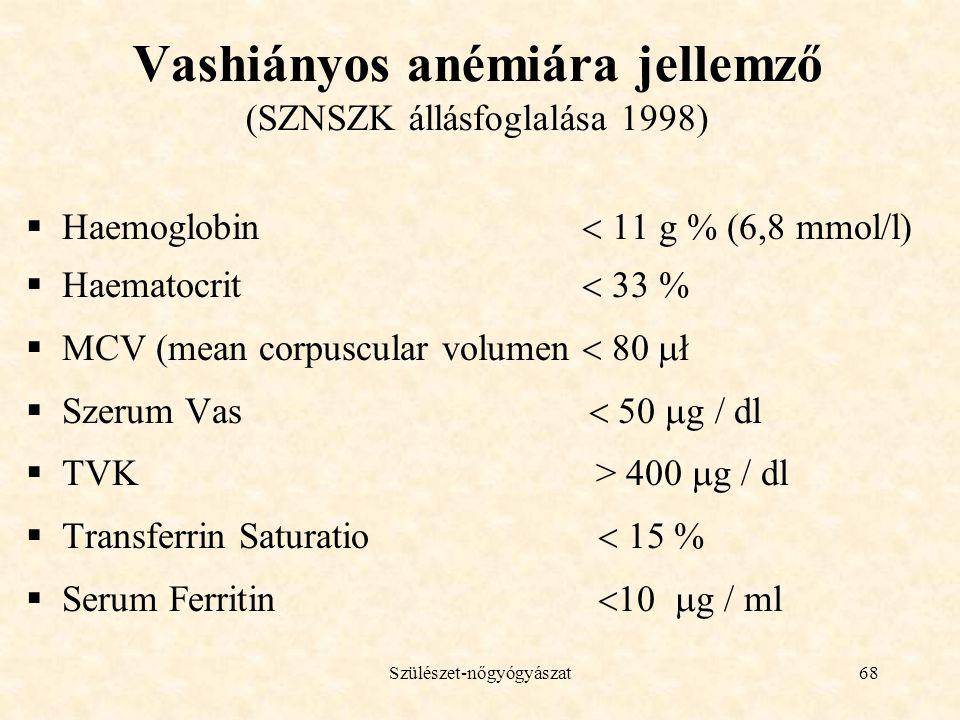 Szülészet-nőgyógyászat68 Vashiányos anémiára jellemző (SZNSZK állásfoglalása 1998)  Haemoglobin  11 g % (6,8 mmol/l)  Haematocrit  33 %  MCV (mean corpuscular volumen  80  ł  Szerum Vas  50  g / dl  TVK > 400  g / dl  Transferrin Saturatio  15 %  Serum Ferritin  10  g / ml