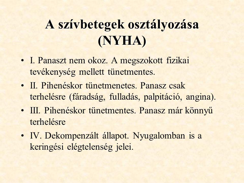 A szívbetegek osztályozása (NYHA) •I. Panaszt nem okoz. A megszokott fizikai tevékenység mellett tünetmentes. •II. Pihenéskor tünetmenetes. Panasz csa