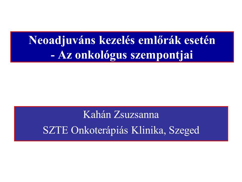 Neoadjuváns kezelés emlőrák esetén - Az onkológus szempontjai Kahán Zsuzsanna SZTE Onkoterápiás Klinika, Szeged
