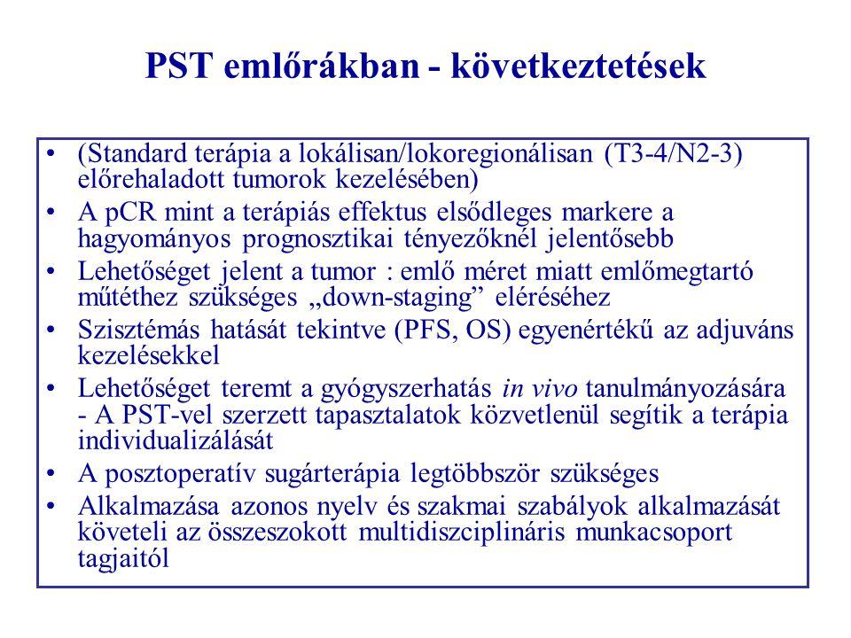 PST emlőrákban - következtetések •(Standard terápia a lokálisan/lokoregionálisan (T3-4/N2-3) előrehaladott tumorok kezelésében) •A pCR mint a terápiás