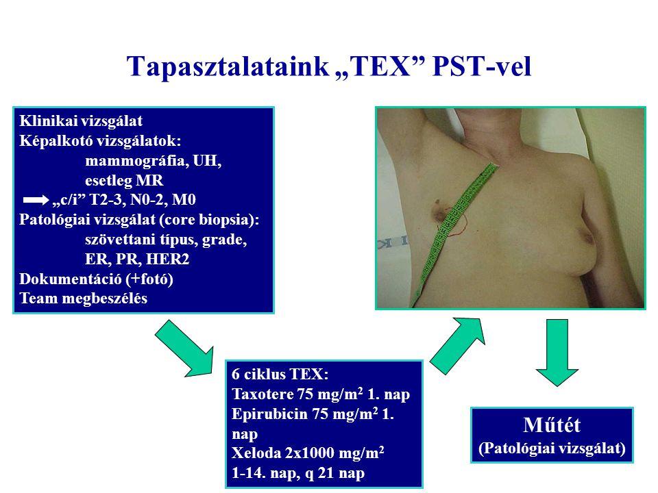 """Tapasztalataink """"TEX"""" PST-vel Klinikai vizsgálat Képalkotó vizsgálatok: mammográfia, UH, esetleg MR """"c/i"""" T2-3, N0-2, M0 Patológiai vizsgálat (core bi"""