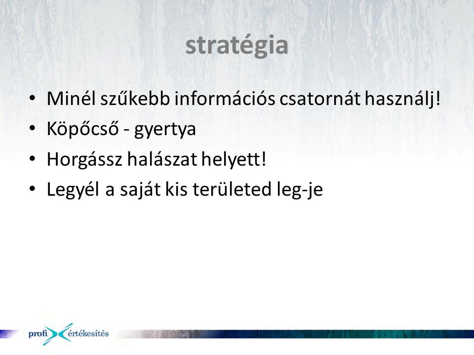 stratégia • Minél szűkebb információs csatornát használj! • Köpőcső - gyertya • Horgássz halászat helyett! • Legyél a saját kis területed leg-je