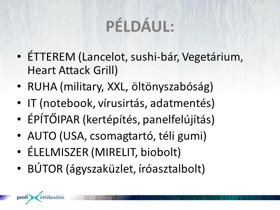 PÉLDÁUL: • ÉTTEREM (Lancelot, sushi-bár, Vegetárium, Heart Attack Grill) • RUHA (military, XXL, öltönyszabóság) • IT (notebook, vírusirtás, adatmentés
