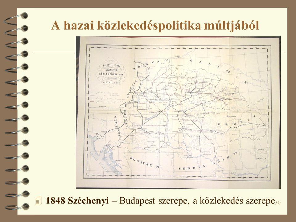30 A hazai közlekedéspolitika múltjából 4 1848 Széchenyi – Budapest szerepe, a közlekedés szerepe