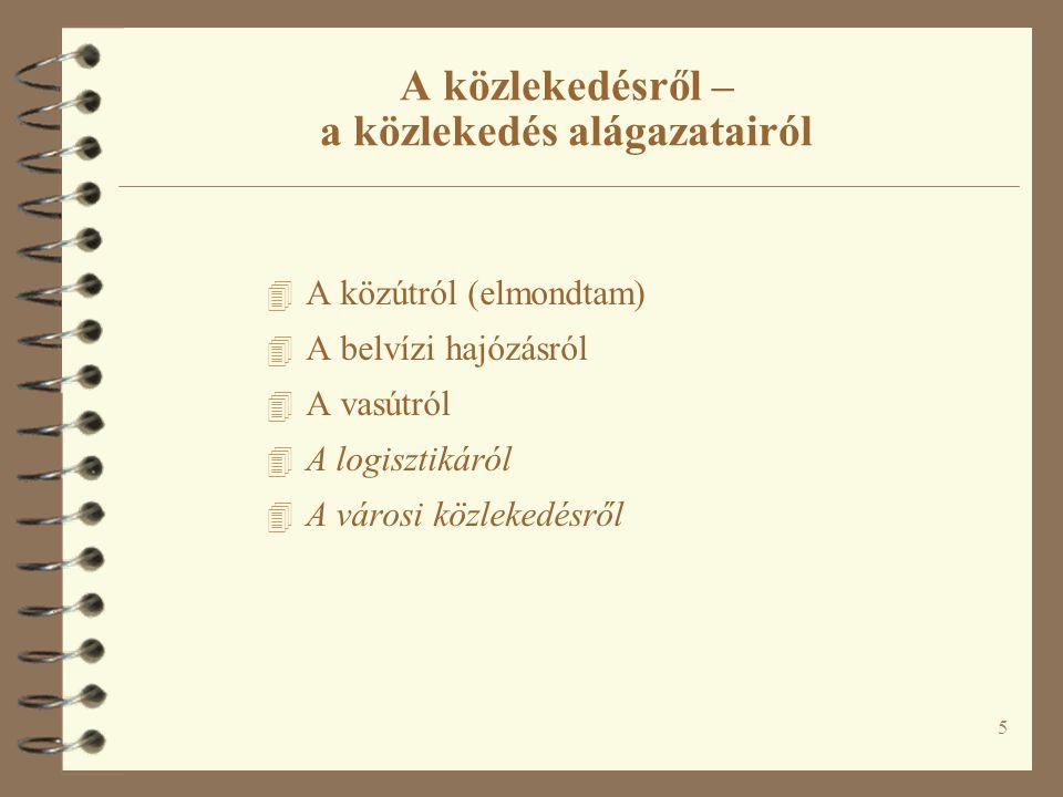 A BELVÍZI KÖZLEKEDÉSRŐL Fleischer Tamás MTA Világgazdasági Kutatóintézet http://www.vki.hu/~tfleisch/ tfleisch@vki.hu INFRASTRUKTÚRA BME, 2010.