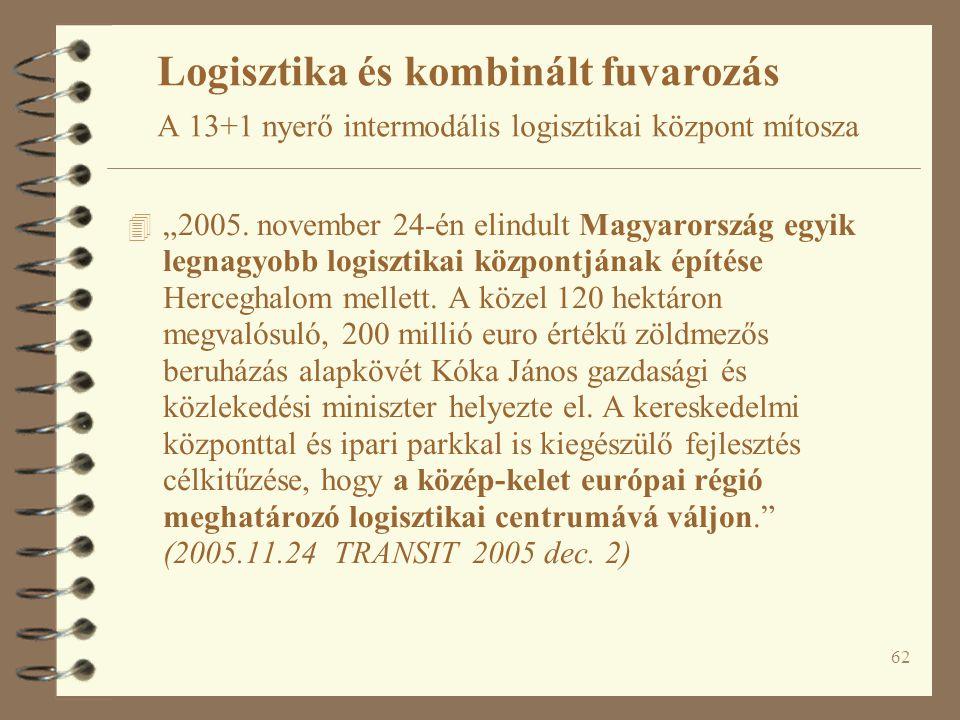"""62 4 """"2005. november 24-én elindult Magyarország egyik legnagyobb logisztikai központjának építése Herceghalom mellett. A közel 120 hektáron megvalósu"""