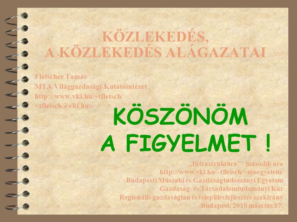 """KÖZLEKEDÉS, A KÖZLEKEDÉS ALÁGAZATAI Fleischer Tamás MTA Világgazdasági Kutatóintézet http://www.vki.hu/~tfleisch/ """"Infrastruktúra"""" - második óra http:"""