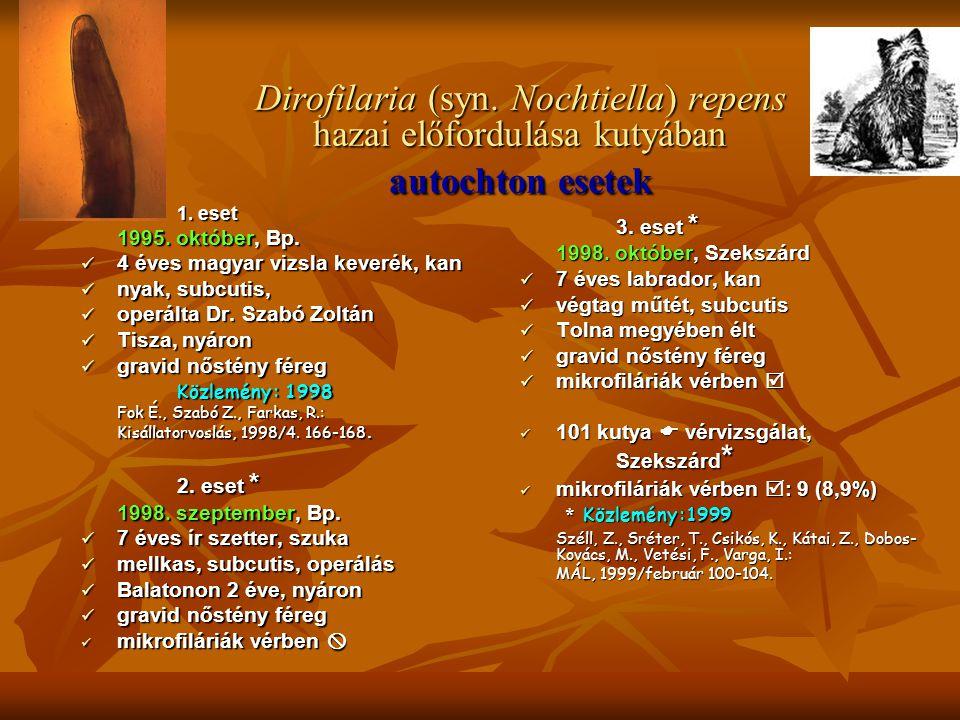 Dirofilaria (syn. Nochtiella) repens hazai előfordulása kutyában autochton esetek 1. eset 1995. október, Bp.  4 éves magyar vizsla keverék, kan  nya