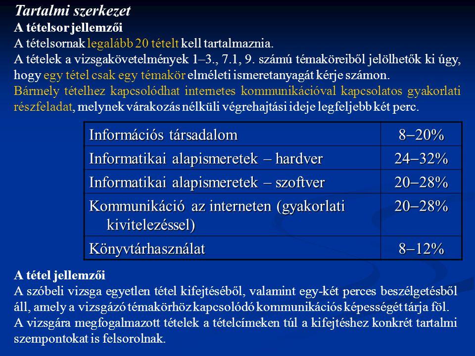 Értékelés A felelet értékelése a következő szempontok alapján történik:  Logikai felépítés8 pont (Jó időbeosztás; a lényeg kiemelése; követhető gondolatmenet.)  Kifejezőkészség, szaknyelv használata8 pont  Tartalom8 pont (Mindent tartalmaz-e, ami a témakörhöz szükséges; vannak-e tárgyi tévedések, rossz magyarázatok.)  Kommunikatív készség6 pont (Lehet-e a vizsgázót a témában vezetni; ha elakad, megérti-e, amit kérdez a bizottság; lehet-e a vizsgázóval a témáról tartalmas párbeszédet folytatni.)