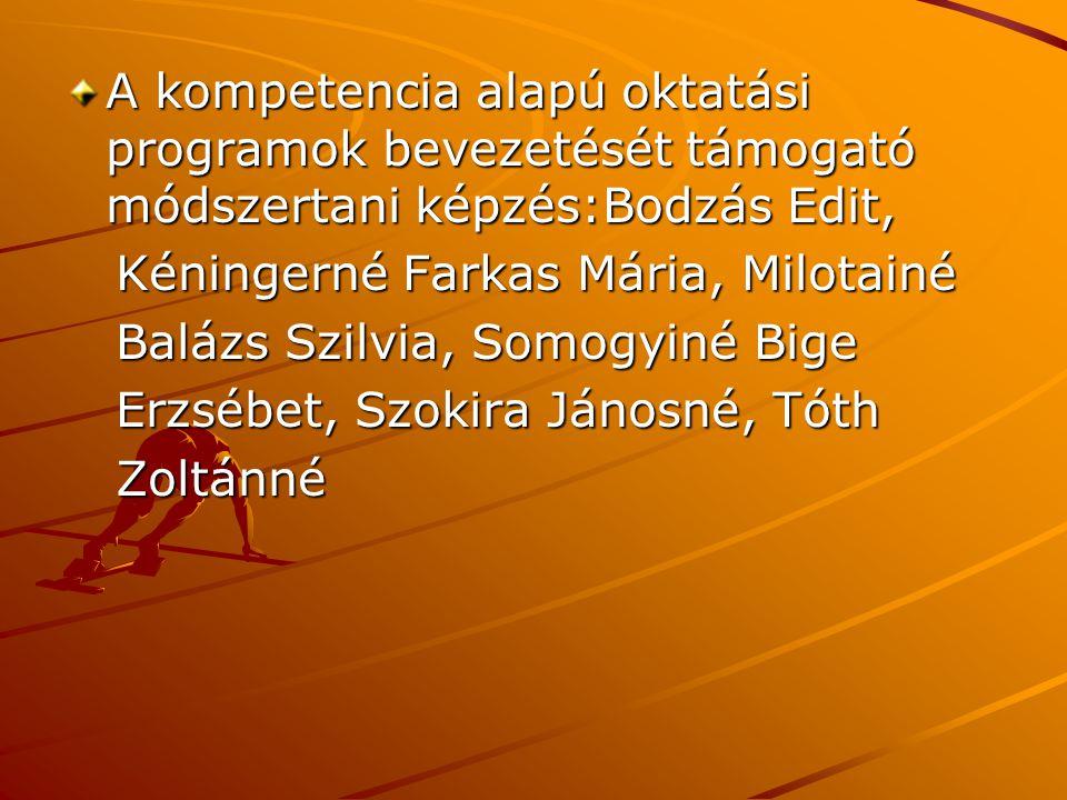 A kompetencia alapú oktatási programok bevezetését támogató módszertani képzés:Bodzás Edit, Kéningerné Farkas Mária, Milotainé Kéningerné Farkas Mária