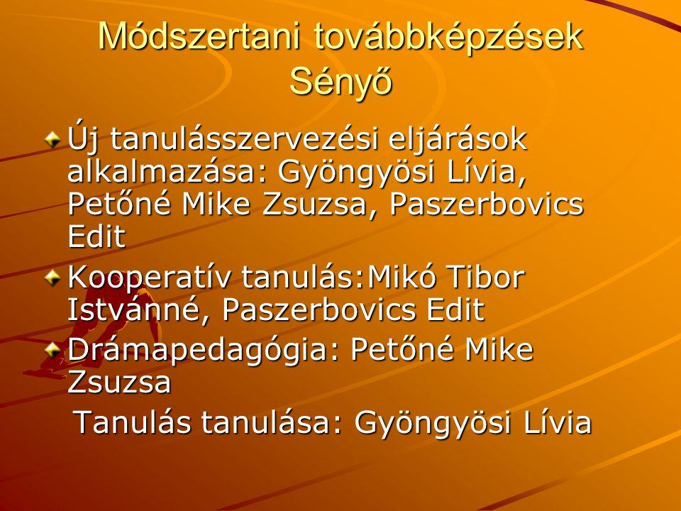Módszertani továbbképzések Sényő Új tanulásszervezési eljárások alkalmazása: Gyöngyösi Lívia, Petőné Mike Zsuzsa, Paszerbovics Edit Kooperatív tanulás