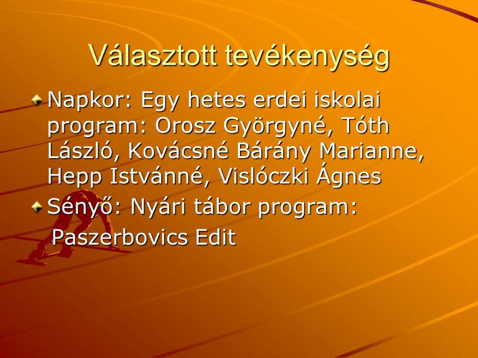 Választott tevékenység Napkor: Egy hetes erdei iskolai program: Orosz Györgyné, Tóth László, Kovácsné Bárány Marianne, Hepp Istvánné, Vislóczki Ágnes