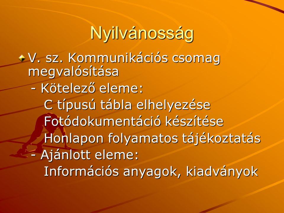 Nyilvánosság V. sz. Kommunikációs csomag megvalósítása - Kötelező eleme: - Kötelező eleme: C típusú tábla elhelyezése C típusú tábla elhelyezése Fotód