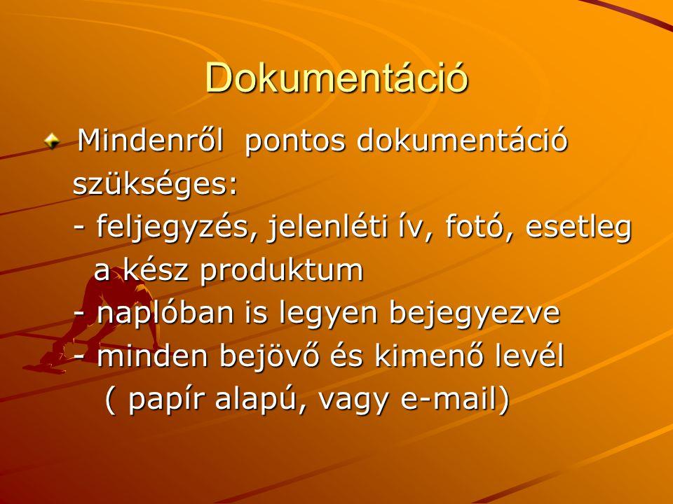 Dokumentáció Mindenről pontos dokumentáció Mindenről pontos dokumentáció szükséges: szükséges: - feljegyzés, jelenléti ív, fotó, esetleg - feljegyzés,