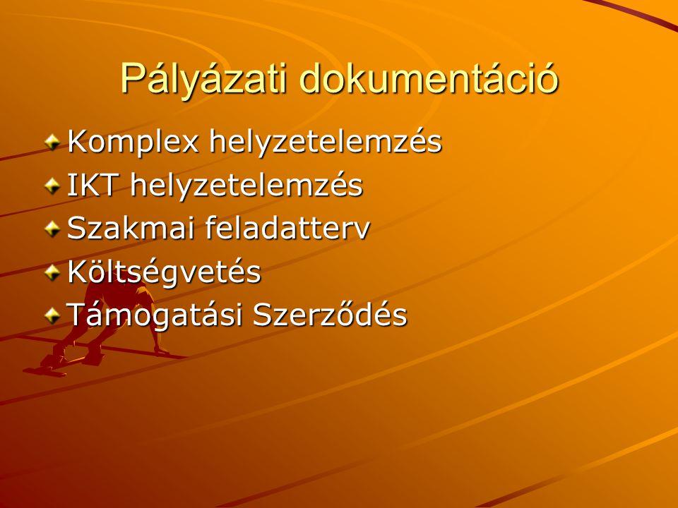 Pályázati dokumentáció Komplex helyzetelemzés IKT helyzetelemzés Szakmai feladatterv Költségvetés Támogatási Szerződés