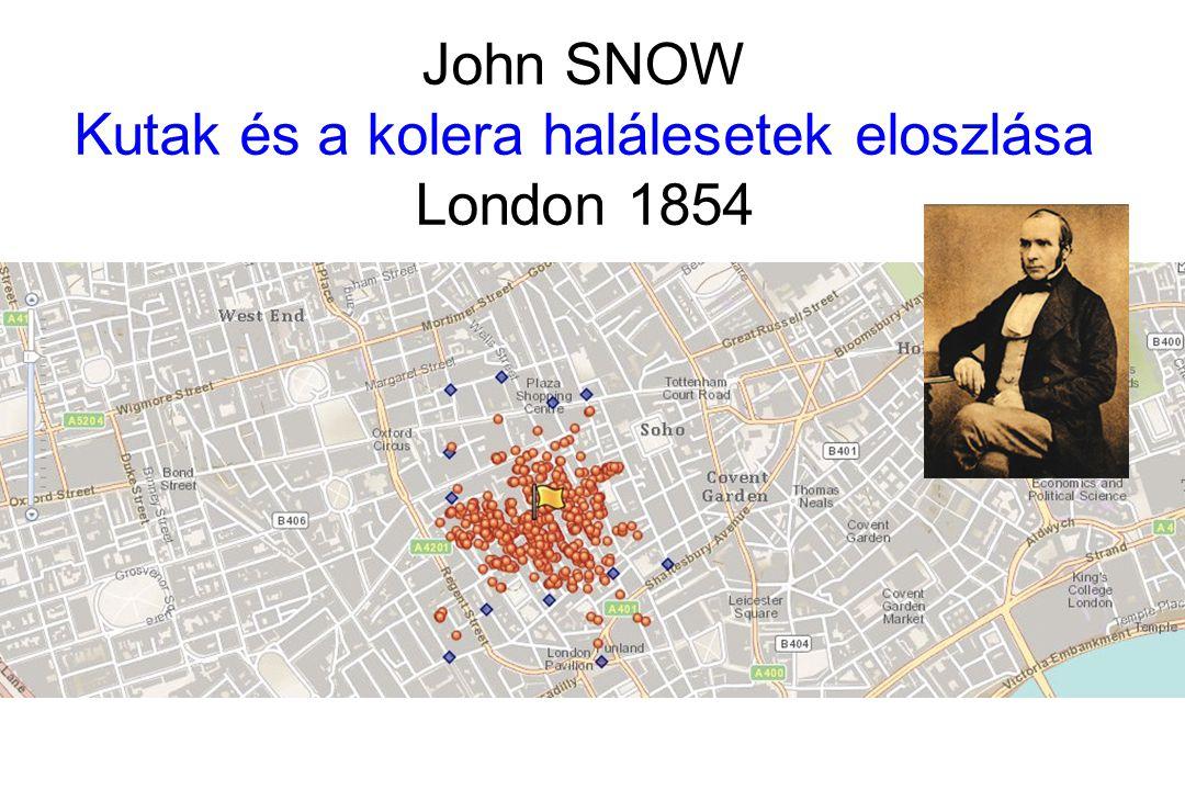 John SNOW Kutak és a kolera halálesetek eloszlása London 1854