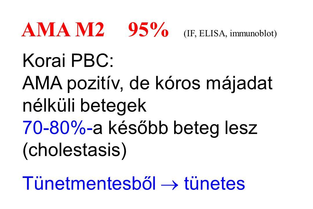AMA M2 95% (IF, ELISA, immunoblot) Korai PBC: AMA pozitív, de kóros májadat nélküli betegek 70-80%-a később beteg lesz (cholestasis) Tünetmentesből 