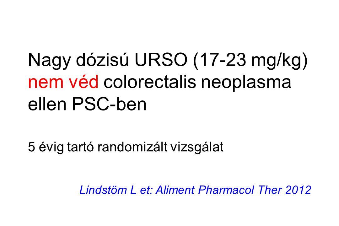 Lindstöm L et: Aliment Pharmacol Ther 2012 Nagy dózisú URSO (17-23 mg/kg) nem véd colorectalis neoplasma ellen PSC-ben 5 évig tartó randomizált vizsgá