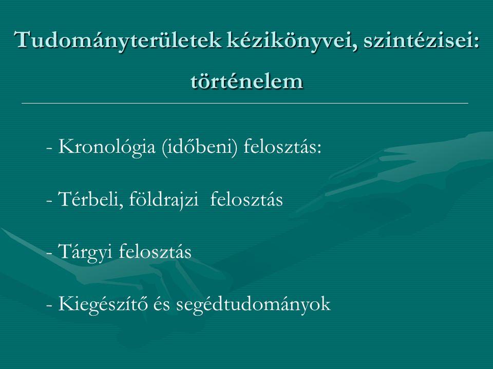 Tudományterületek kézikönyvei, szintézisei: történelem - Kronológia (időbeni) felosztás: - Térbeli, földrajzi felosztás - Tárgyi felosztás - Kiegészít