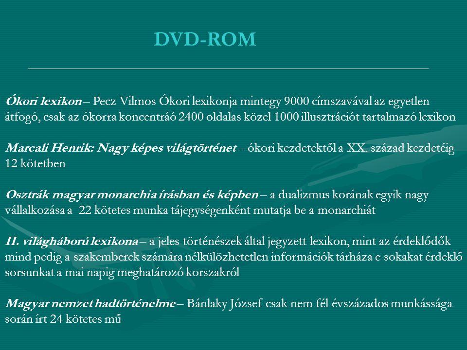 DVD-ROM Ókori lexikon – Pecz Vilmos Ókori lexikonja mintegy 9000 címszavával az egyetlen átfogó, csak az ókorra koncentráó 2400 oldalas közel 1000 ill
