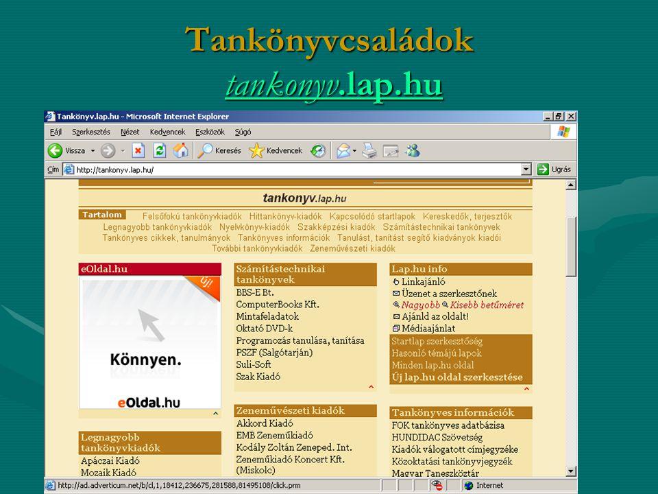 Tankönyvcsaládok tankonyv.lap.hu tankonyv.lap.hutankonyv.lap.hu