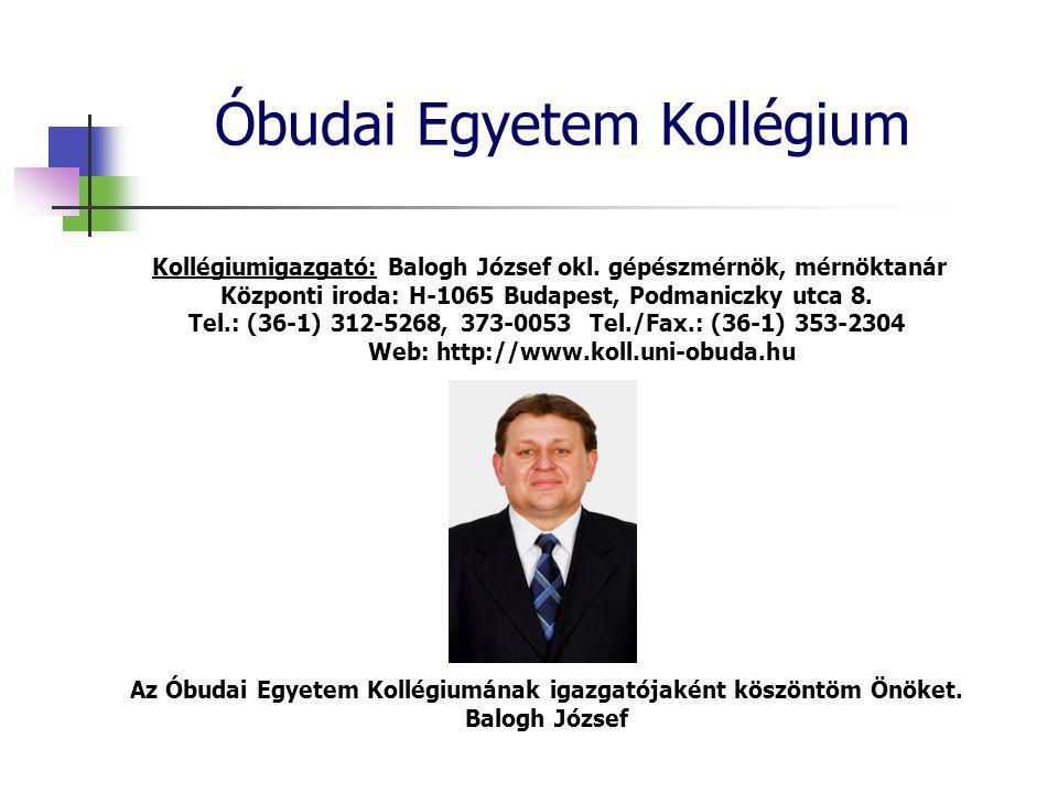 Kollégiumigazgató: Balogh József okl.