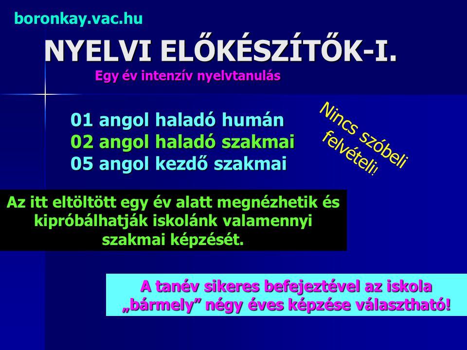 NYELVI ELŐKÉSZÍTŐK-I. boronkay.vac.hu Egy év intenzív nyelvtanulás 01 angol haladó humán 02 angol haladó szakmai 05 angol kezdő szakmai Nincs szóbeli