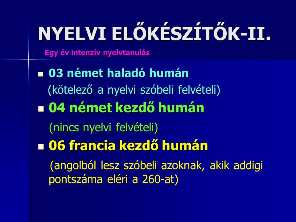 NYELVI ELŐKÉSZÍTŐK-II.  03 német haladó humán (kötelező a nyelvi szóbeli felvételi) (kötelező a nyelvi szóbeli felvételi)  04 német kezdő humán (nin