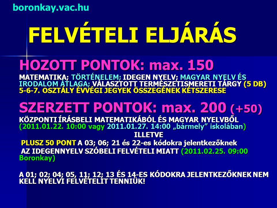 FELVÉTELI ELJÁRÁS HOZOTT PONTOK: max. 150 MATEMATIKA; TÖRTÉNELEM; IDEGEN NYELV; MAGYAR NYELV ÉS IRODALOM ÁTLAGA; VÁLASZTOTT TERMÉSZETISMERETI TÁRGY (5