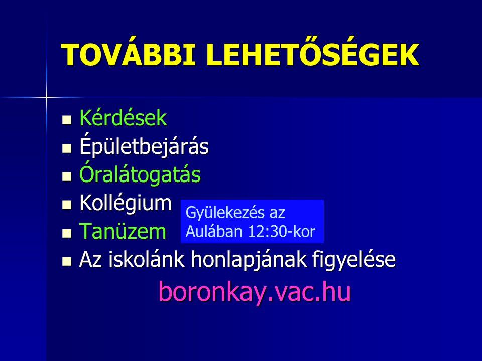 TOVÁBBI LEHETŐSÉGEK  Kérdések  Épületbejárás  Óralátogatás  Kollégium  Tanüzem  Az iskolánk honlapjának figyelése boronkay.vac.hu Gyülekezés az
