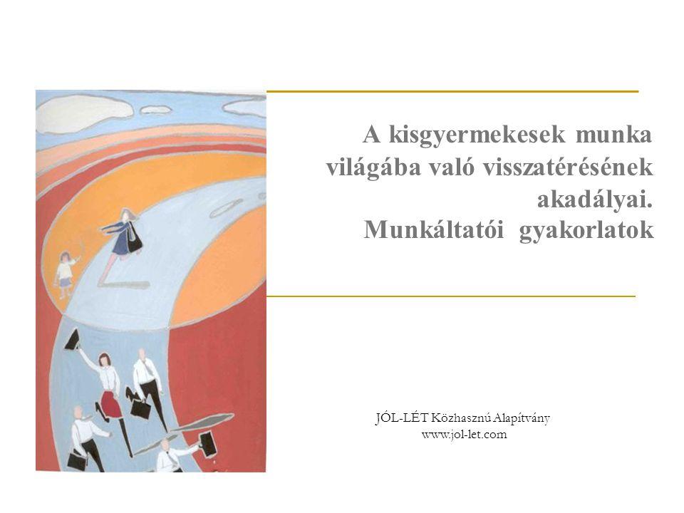 JÓL-LÉT Közhasznú Alapítvány www.jol-let.com A kisgyermekesek munka világába való visszatérésének akadályai. Munkáltatói gyakorlatok