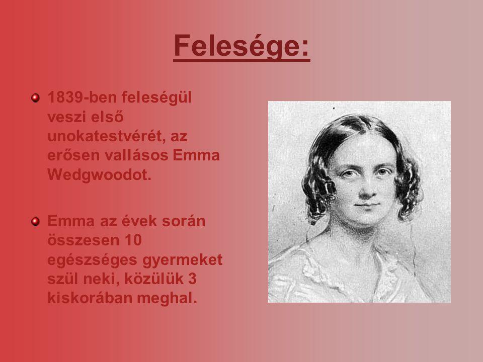 Felesége: 1839-ben feleségül veszi első unokatestvérét, az erősen vallásos Emma Wedgwoodot. Emma az évek során összesen 10 egészséges gyermeket szül n