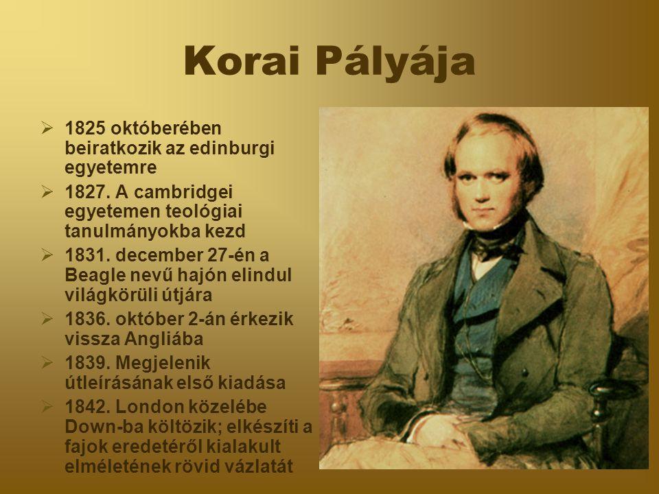 Korai Pályája  1825 októberében beiratkozik az edinburgi egyetemre  1827. A cambridgei egyetemen teológiai tanulmányokba kezd  1831. december 27-én