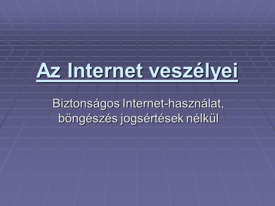 Az Internet veszélyei Biztonságos Internet-használat, böngészés jogsértések nélkül
