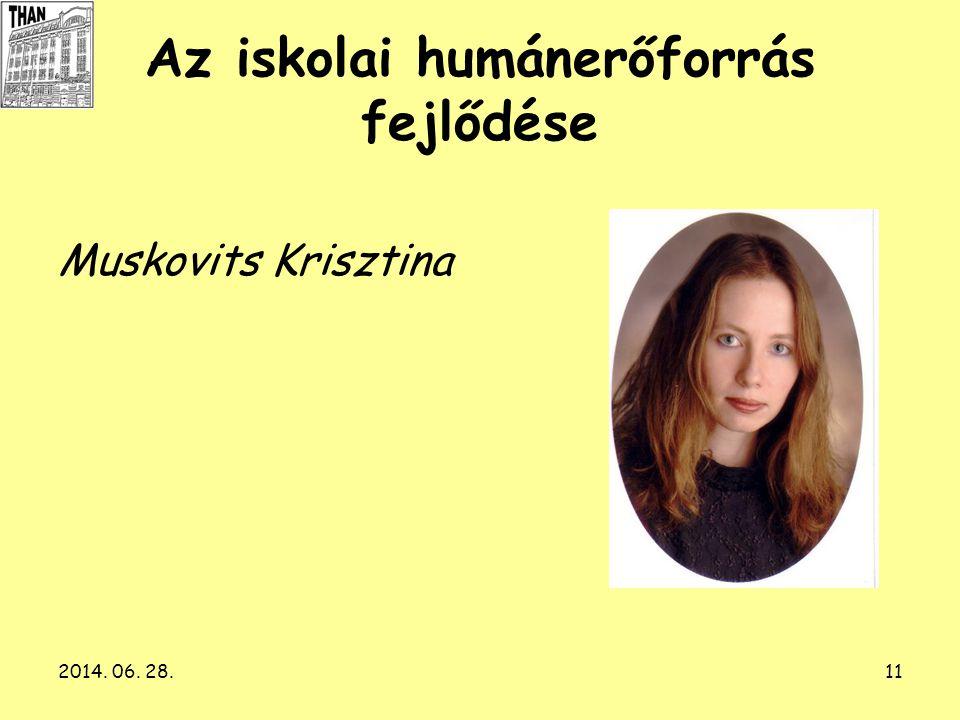 2014. 06. 28.11 Az iskolai humánerőforrás fejlődése Muskovits Krisztina
