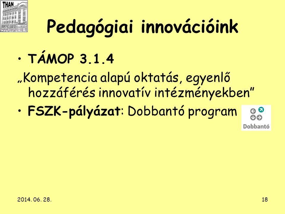 """2014. 06. 28.18 Pedagógiai innovációink •TÁMOP 3.1.4 """"Kompetencia alapú oktatás, egyenlő hozzáférés innovatív intézményekben"""" •FSZK-pályázat: Dobbantó"""
