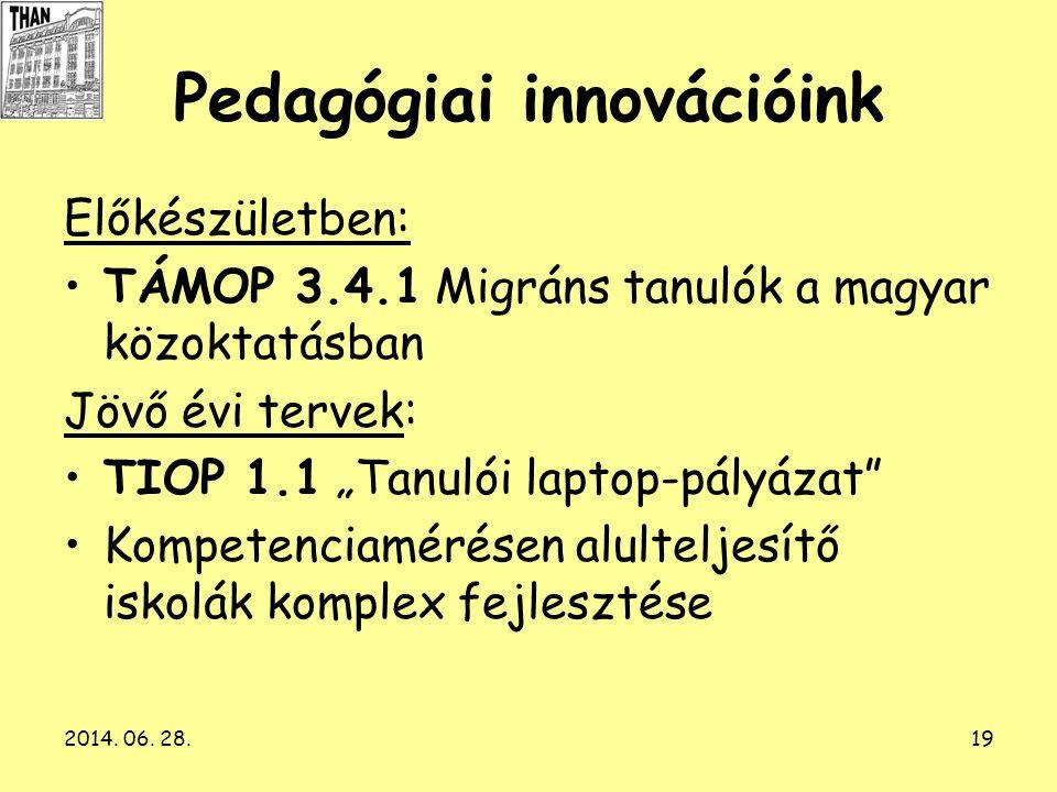 """2014. 06. 28.19 Pedagógiai innovációink Előkészületben: •TÁMOP 3.4.1 Migráns tanulók a magyar közoktatásban Jövő évi tervek: •TIOP 1.1 """"Tanulói laptop"""