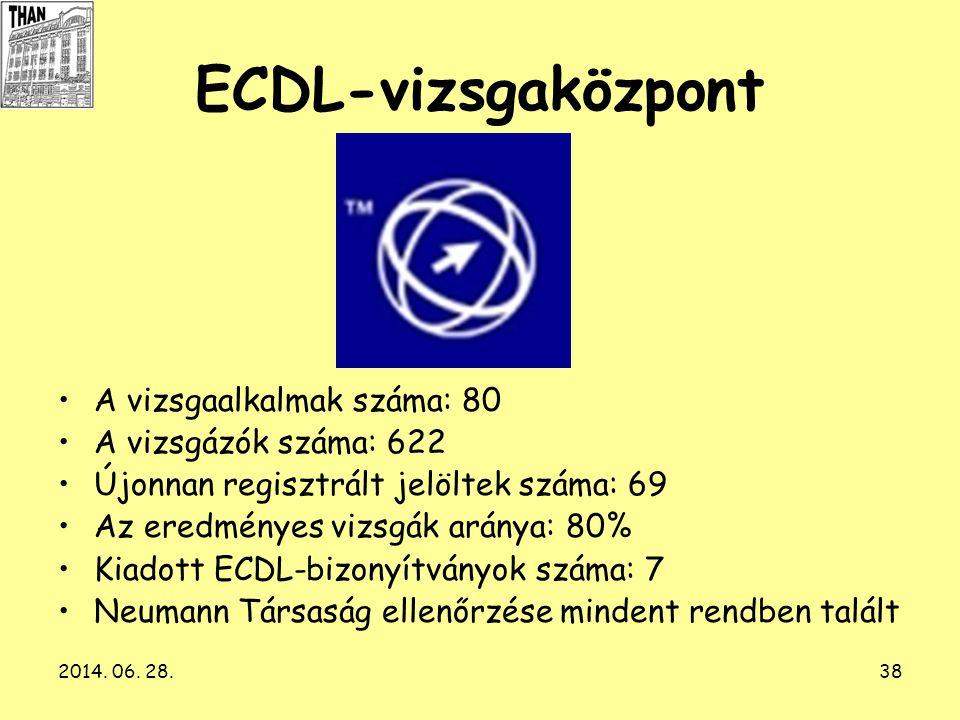 2014. 06. 28.38 ECDL-vizsgaközpont •A vizsgaalkalmak száma: 80 •A vizsgázók száma: 622 •Újonnan regisztrált jelöltek száma: 69 •Az eredményes vizsgák