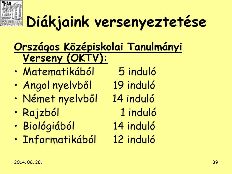 2014. 06. 28.39 Diákjaink versenyeztetése Országos Középiskolai Tanulmányi Verseny (OKTV): •Matematikából 5 induló •Angol nyelvből 19 induló •Német ny