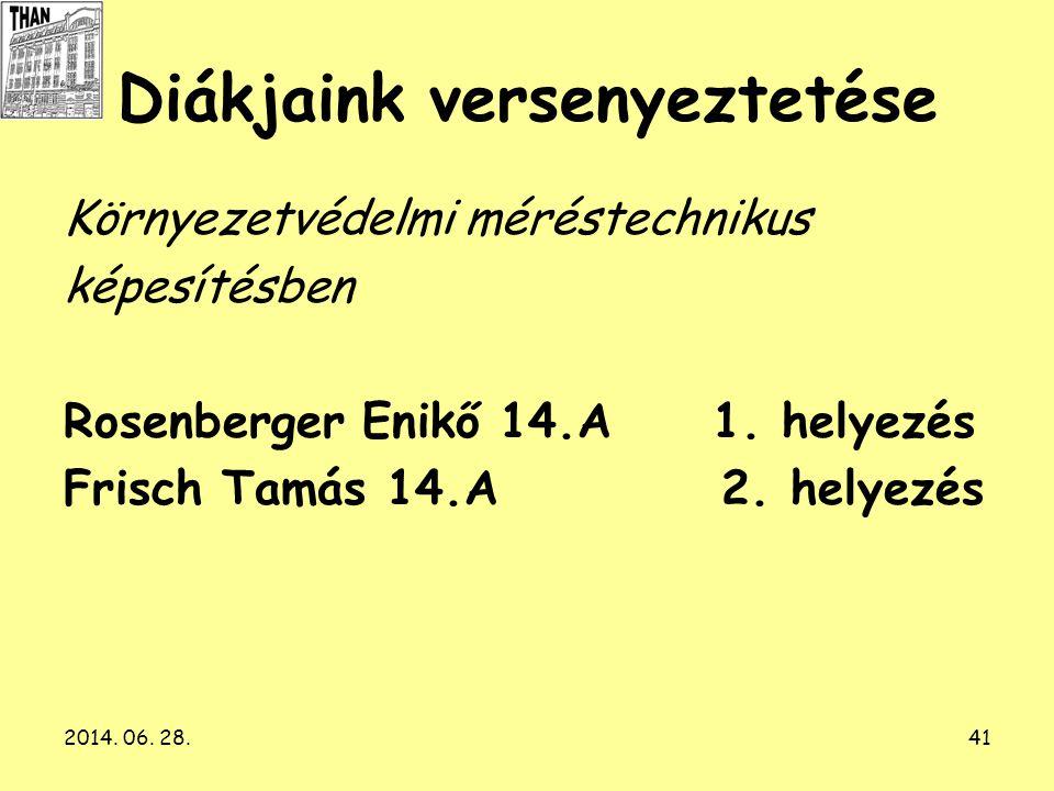 2014. 06. 28.41 Diákjaink versenyeztetése Környezetvédelmi méréstechnikus képesítésben Rosenberger Enikő 14.A 1. helyezés Frisch Tamás 14.A 2. helyezé