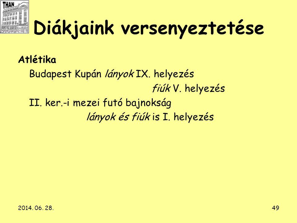 2014. 06. 28.49 Diákjaink versenyeztetése Atlétika Budapest Kupán lányok IX. helyezés fiúk V. helyezés II. ker.-i mezei futó bajnokság lányok és fiúk