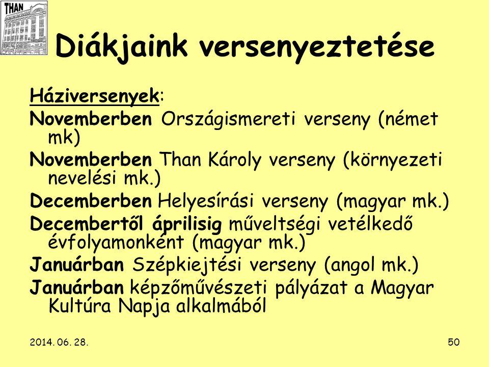 2014. 06. 28.50 Diákjaink versenyeztetése Háziversenyek: Novemberben Országismereti verseny (német mk) Novemberben Than Károly verseny (környezeti nev
