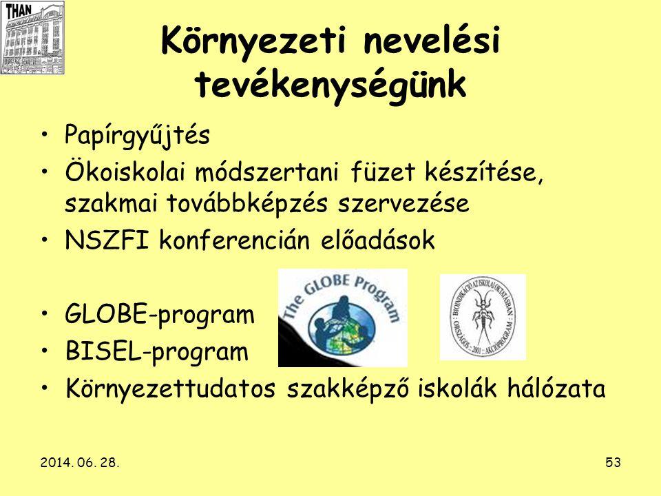 2014. 06. 28.53 Környezeti nevelési tevékenységünk •Papírgyűjtés •Ökoiskolai módszertani füzet készítése, szakmai továbbképzés szervezése •NSZFI konfe